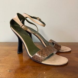 Gucci Brown Snake Skin Strappy High Heels 9